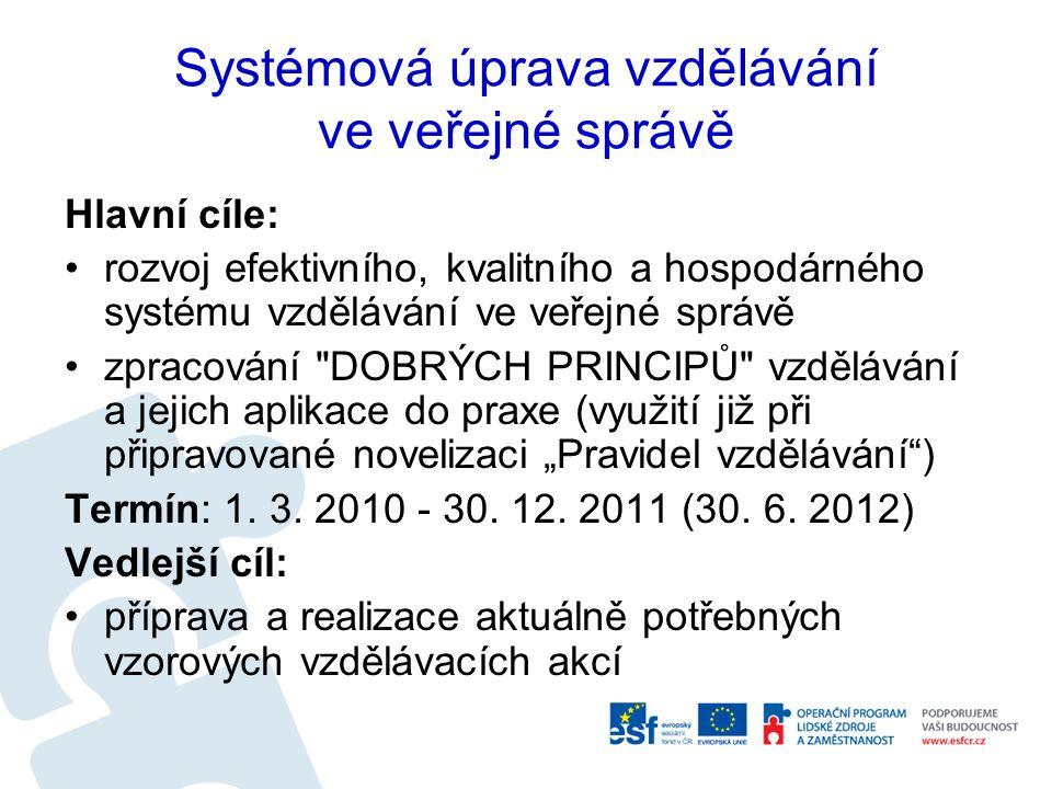 """Systémová úprava vzdělávání ve veřejné správě Hlavní cíle: rozvoj efektivního, kvalitního a hospodárného systému vzdělávání ve veřejné správě zpracování DOBRÝCH PRINCIPŮ vzdělávání a jejich aplikace do praxe (využití již při připravované novelizaci """"Pravidel vzdělávání ) Termín: 1."""