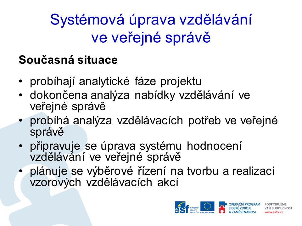 Systémová úprava vzdělávání ve veřejné správě Současná situace probíhají analytické fáze projektu dokončena analýza nabídky vzdělávání ve veřejné správě probíhá analýza vzdělávacích potřeb ve veřejné správě připravuje se úprava systému hodnocení vzdělávání ve veřejné správě plánuje se výběrové řízení na tvorbu a realizaci vzorových vzdělávacích akcí
