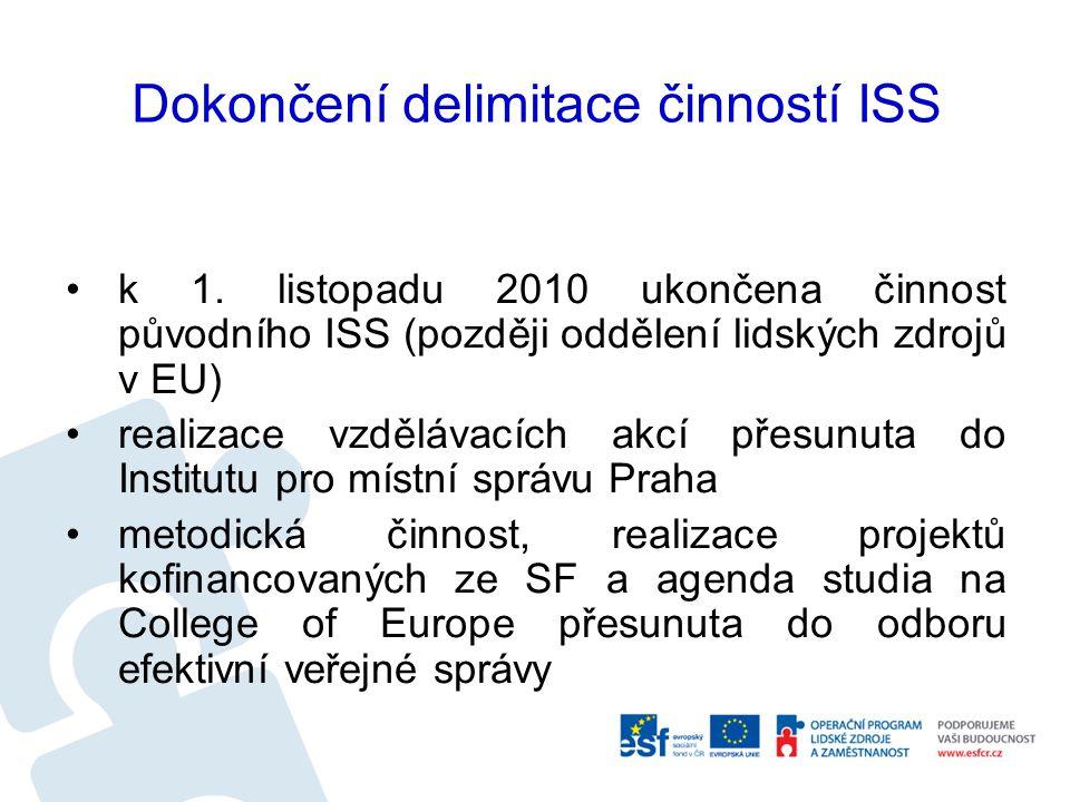 Dokončení delimitace činností ISS k 1.