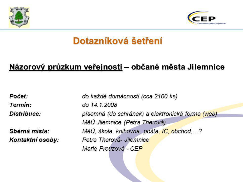 Dotazníková šetření Názorový průzkum veřejnosti – občané města Jilemnice Počet:do každé domácnosti (cca 2100 ks) Termín: do 14.1.2008 Distribuce: píse