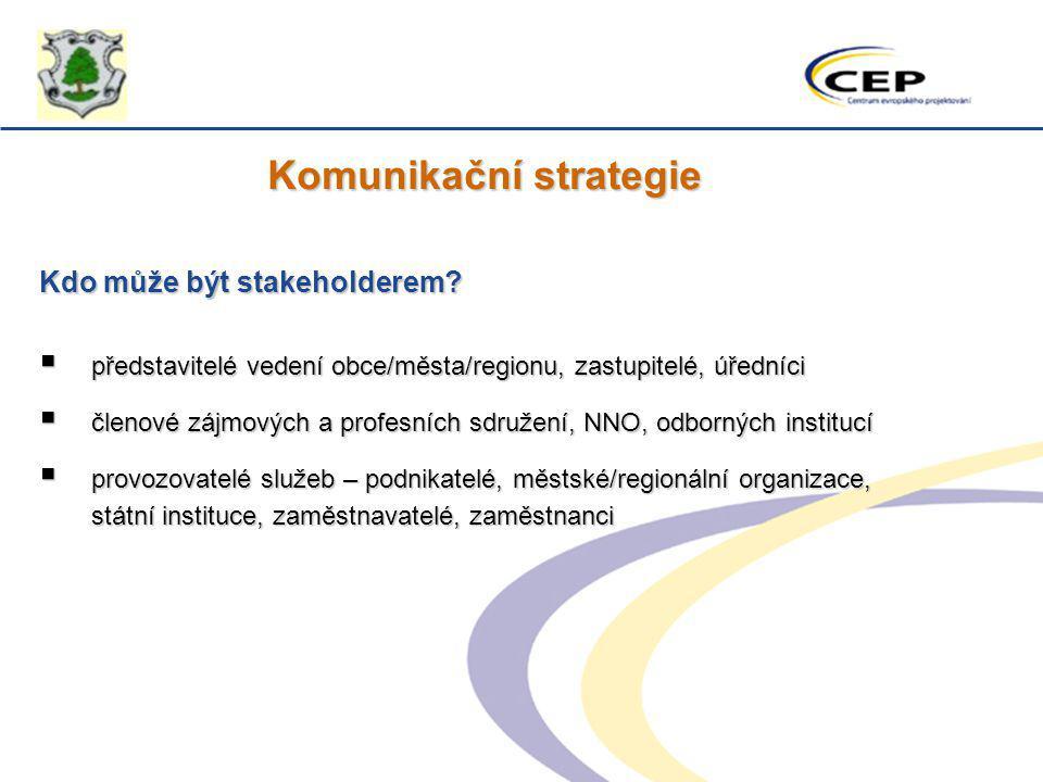 Komunikační strategie Kdo může být stakeholderem?  představitelé vedení obce/města/regionu, zastupitelé, úředníci  členové zájmových a profesních sd