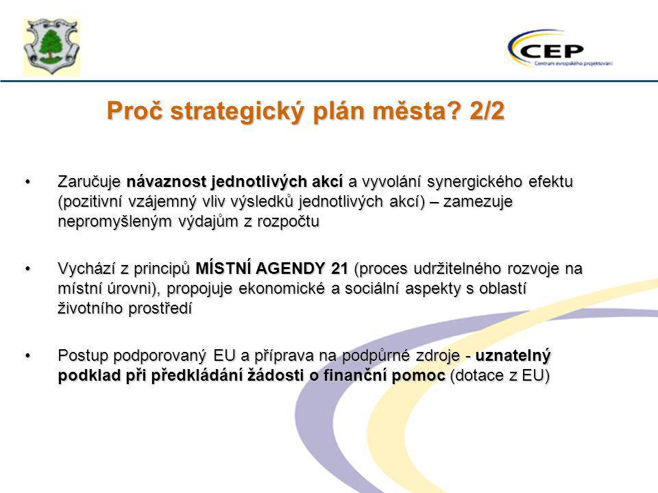 Proč strategický plán města? 2/2 Zaručuje návaznost jednotlivých akcí a vyvolání synergického efektu (pozitivní vzájemný vliv výsledků jednotlivých ak