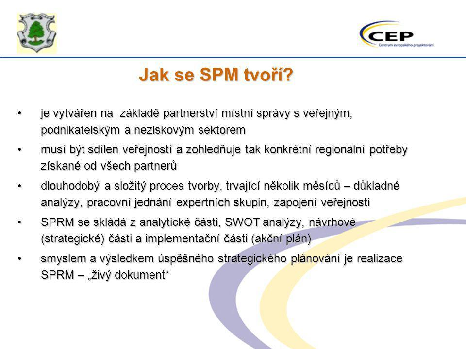 Jak se SPM tvoří? je vytvářen na základě partnerství místní správy s veřejným, podnikatelským a neziskovým sektoremje vytvářen na základě partnerství