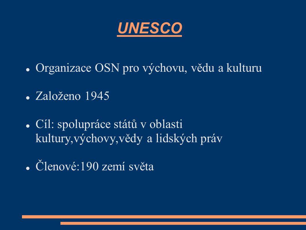 UNESCO Organizace OSN pro výchovu, vědu a kulturu Založeno 1945 Cíl: spolupráce států v oblasti kultury,výchovy,vědy a lidských práv Členové:190 zemí