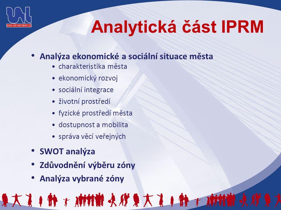 Analytická část IPRM Analýza ekonomické a sociální situace města charakteristika města ekonomický rozvoj sociální integrace životní prostředí fyzické prostředí města dostupnost a mobilita správa věcí veřejných SWOT analýza Zdůvodnění výběru zóny Analýza vybrané zóny