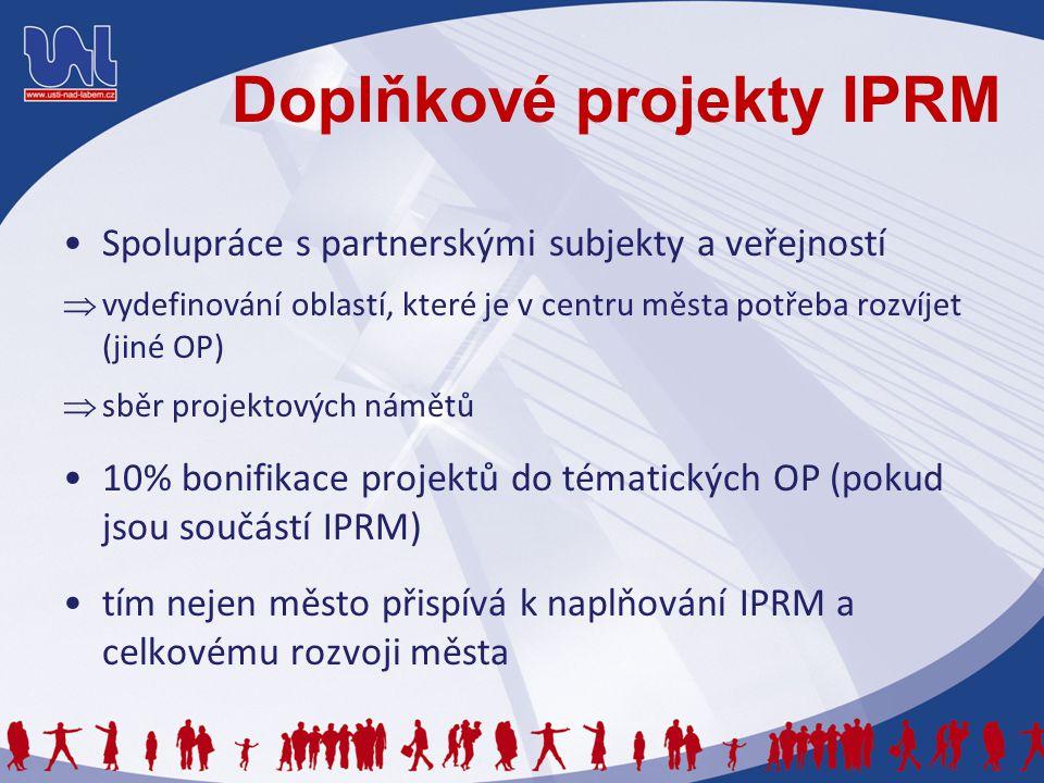 Doplňkové projekty IPRM Spolupráce s partnerskými subjekty a veřejností  vydefinování oblastí, které je v centru města potřeba rozvíjet (jiné OP)  sběr projektových námětů 10% bonifikace projektů do tématických OP (pokud jsou součástí IPRM) tím nejen město přispívá k naplňování IPRM a celkovému rozvoji města