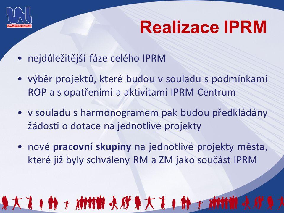 Realizace IPRM nejdůležitější fáze celého IPRM výběr projektů, které budou v souladu s podmínkami ROP a s opatřeními a aktivitami IPRM Centrum v souladu s harmonogramem pak budou předkládány žádosti o dotace na jednotlivé projekty nové pracovní skupiny na jednotlivé projekty města, které již byly schváleny RM a ZM jako součást IPRM