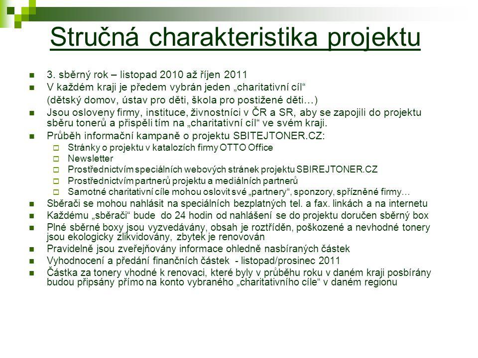 """Stručná charakteristika projektu 3. sběrný rok – listopad 2010 až říjen 2011 V každém kraji je předem vybrán jeden """"charitativní cíl"""" (dětský domov, ú"""