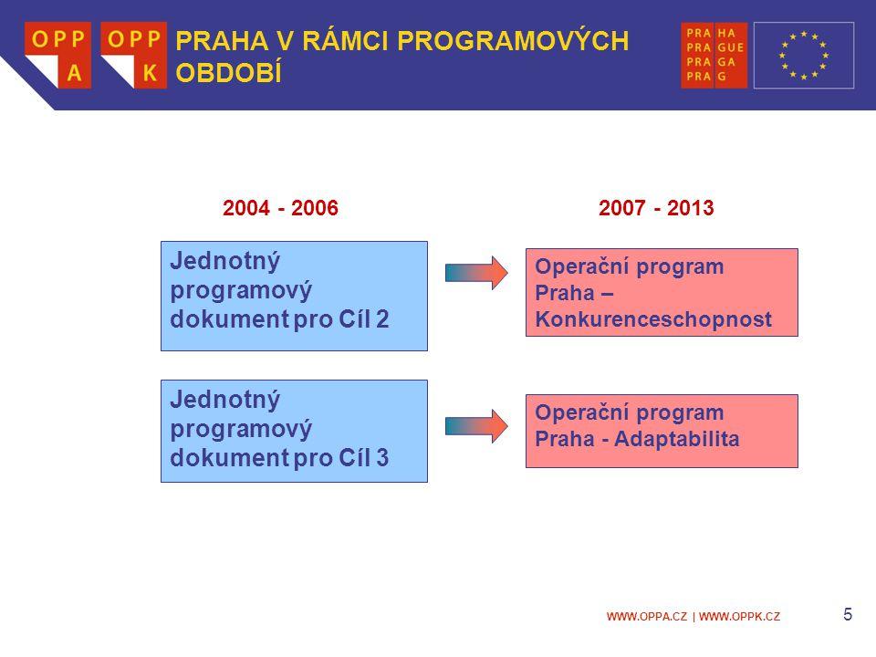 WWW.OPPA.CZ | WWW.OPPK.CZ 5 Operační program Praha – Konkurenceschopnost Jednotný programový dokument pro Cíl 3 Operační program Praha - Adaptabilita