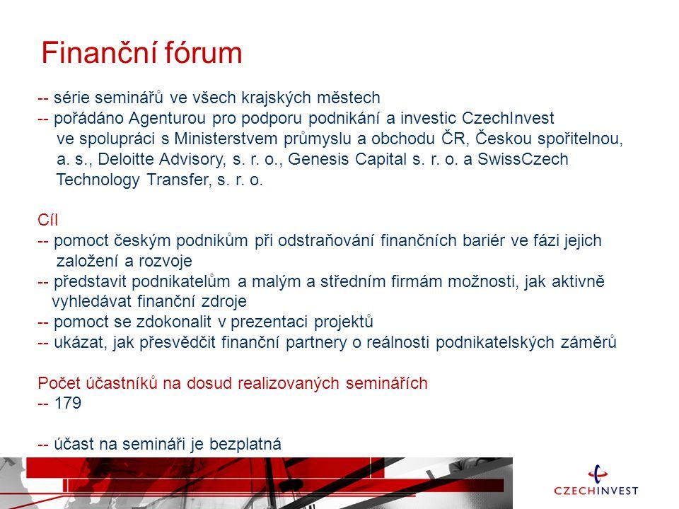 Finanční fórum -- série seminářů ve všech krajských městech -- pořádáno Agenturou pro podporu podnikání a investic CzechInvest ve spolupráci s Ministe