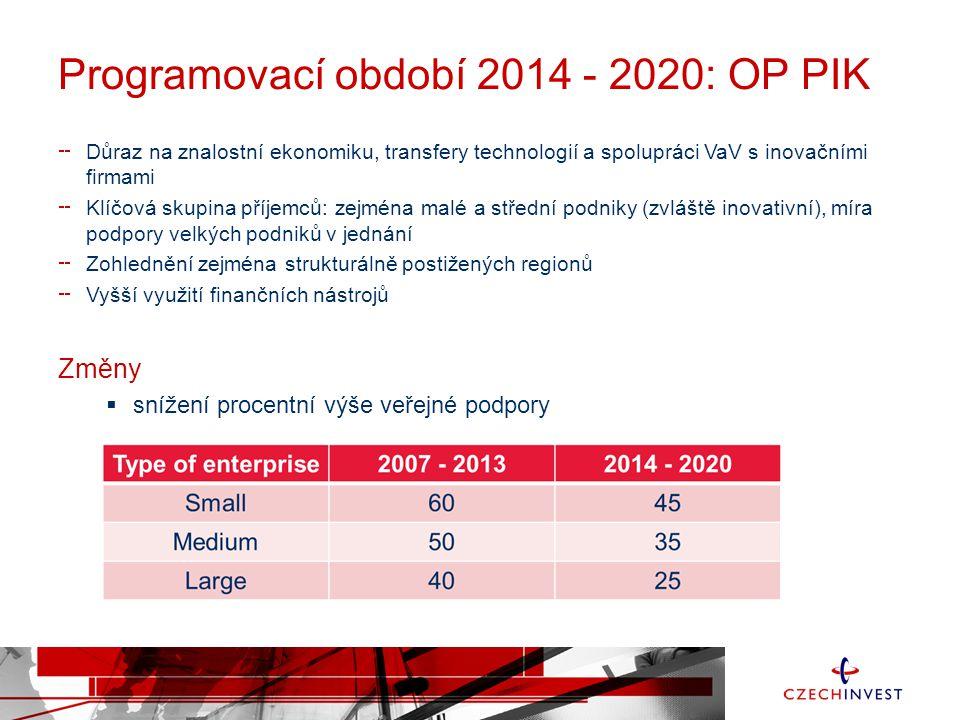 Programovací období 2014 - 2020: OP PIK Důraz na znalostní ekonomiku, transfery technologií a spolupráci VaV s inovačními firmami Klíčová skupina příj