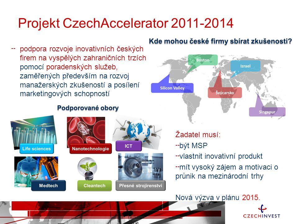 Projekt CzechAccelerator 2011-2014 podpora rozvoje inovativních českých firem na vyspělých zahraničních trzích pomocí poradenských služeb, zaměřených