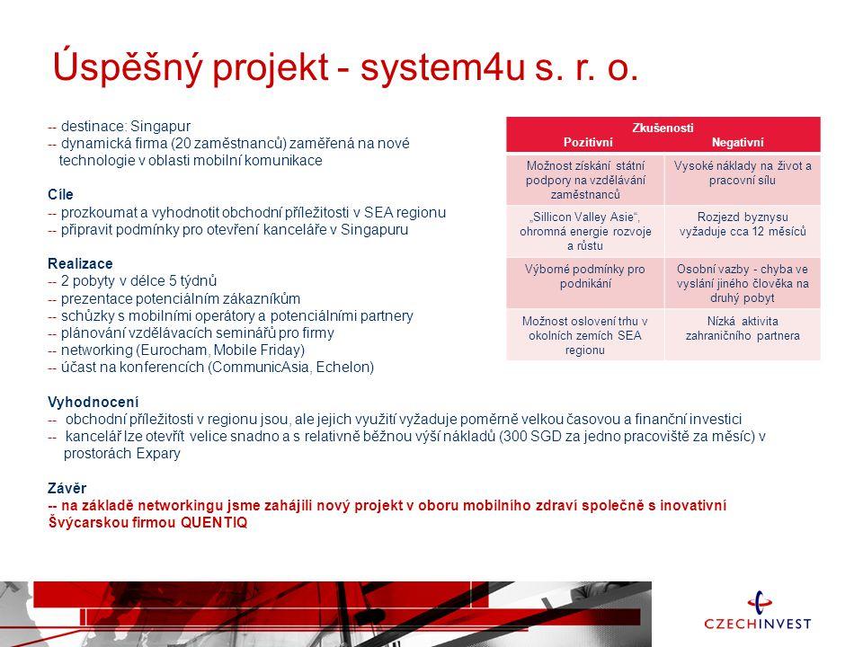 Úspěšný projekt - system4u s. r. o. -- destinace: Singapur -- dynamická firma (20 zaměstnanců) zaměřená na nové technologie v oblasti mobilní komunika
