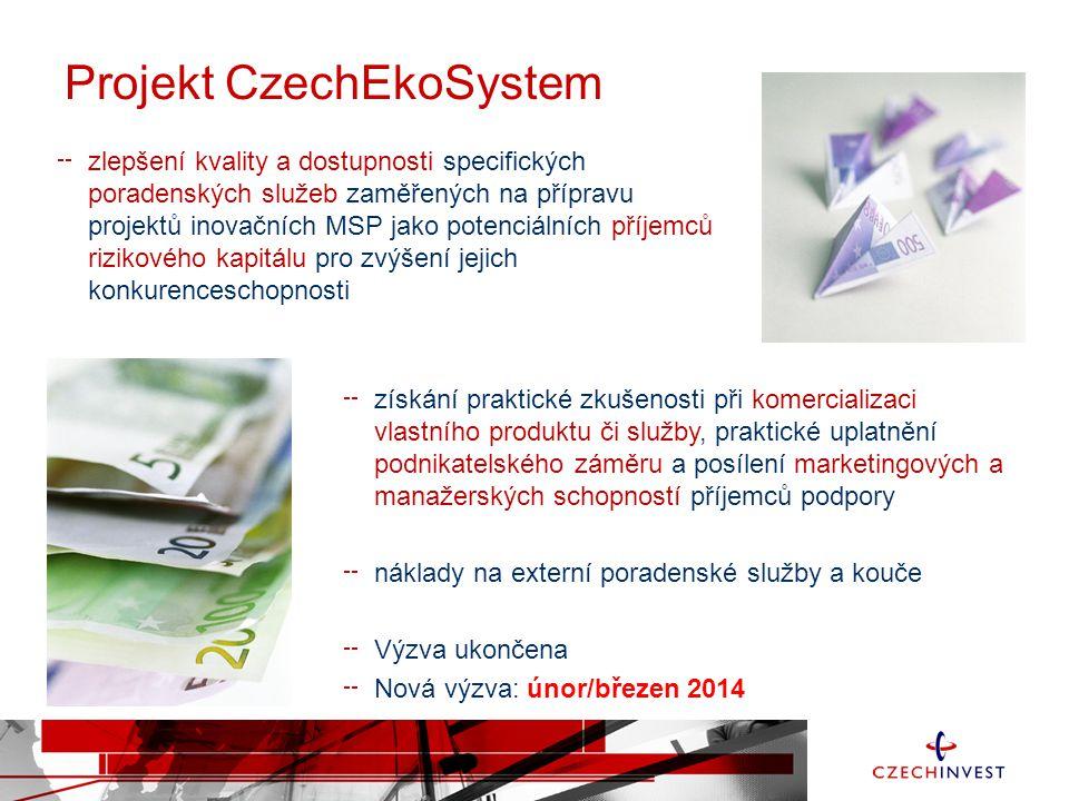 CzechEkoSystem Do projektu se může přihlásit -- malý a střední podnik s inovativními podnikatelskými záměry -- podnik, ve kterém od zahájení podnikatelských aktivit neuběhlo více než 5 let -- místo realizace v ČR mimo hl.