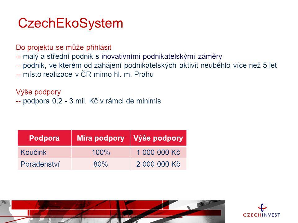 CzechEkoSystem Do projektu se může přihlásit -- malý a střední podnik s inovativními podnikatelskými záměry -- podnik, ve kterém od zahájení podnikate