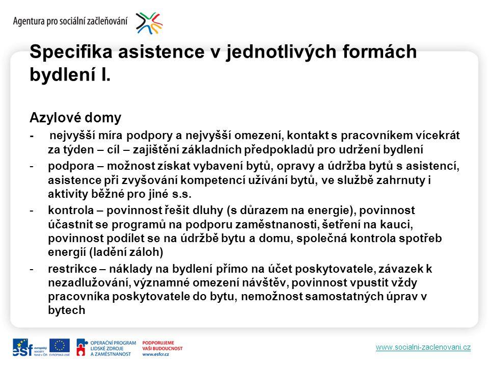 www.socialni-zaclenovani.cz Specifika asistence v jednotlivých formách bydlení I.