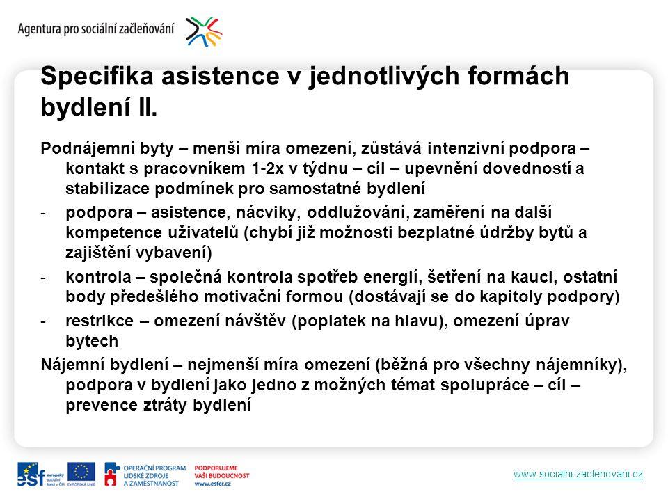 www.socialni-zaclenovani.cz Specifika asistence v jednotlivých formách bydlení II.