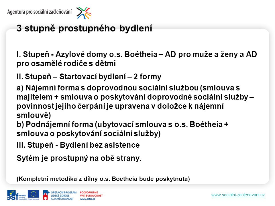 www.socialni-zaclenovani.cz 3 stupně prostupného bydlení I.