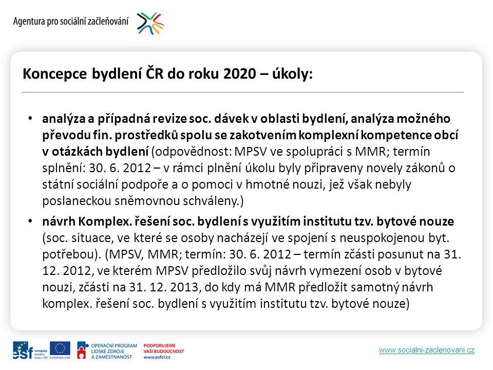 www.socialni-zaclenovani.cz Koncepce bydlení ČR do roku 2020 – úkoly: analýza a případná revize soc.