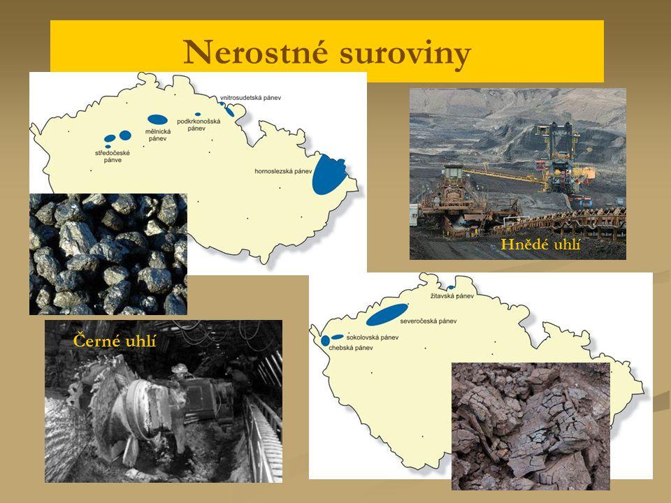 Nerostné suroviny Černé uhlí Hnědé uhlí