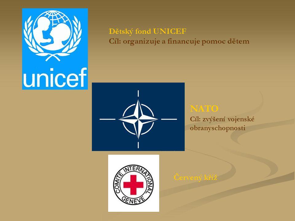 NATO Cíl: zvýšení vojenské obranyschopnosti Dětský fond UNICEF Cíl: organizuje a financuje pomoc dětem Červený kříž