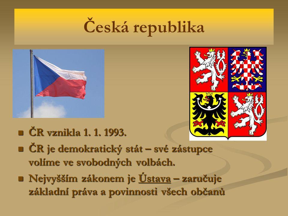 Česká republika ČR vznikla 1.1. 1993. ČR vznikla 1.