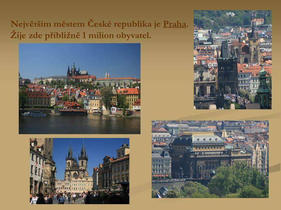 Největším městem České republika je Praha. Žije zde přibližně 1 milion obyvatel.