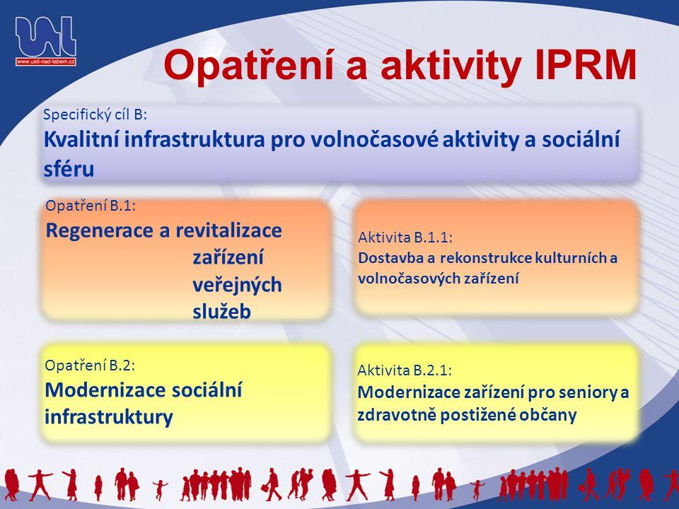Opatření a aktivity IPRM Specifický cíl B: Kvalitní infrastruktura pro volnočasové aktivity a sociální sféru Specifický cíl B: Kvalitní infrastruktura pro volnočasové aktivity a sociální sféru Opatření B.1: Regenerace a revitalizace zařízení veřejných služeb Opatření B.1: Regenerace a revitalizace zařízení veřejných služeb Aktivita B.2.1: Modernizace zařízení pro seniory a zdravotně postižené občany Aktivita B.2.1: Modernizace zařízení pro seniory a zdravotně postižené občany Opatření B.2: Modernizace sociální infrastruktury Opatření B.2: Modernizace sociální infrastruktury Aktivita B.1.1: Dostavba a rekonstrukce kulturních a volnočasových zařízení Aktivita B.1.1: Dostavba a rekonstrukce kulturních a volnočasových zařízení