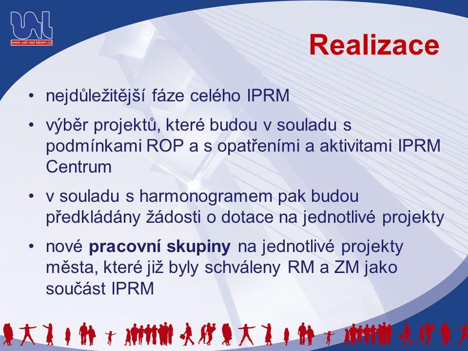 Realizace nejdůležitější fáze celého IPRM výběr projektů, které budou v souladu s podmínkami ROP a s opatřeními a aktivitami IPRM Centrum v souladu s harmonogramem pak budou předkládány žádosti o dotace na jednotlivé projekty nové pracovní skupiny na jednotlivé projekty města, které již byly schváleny RM a ZM jako součást IPRM