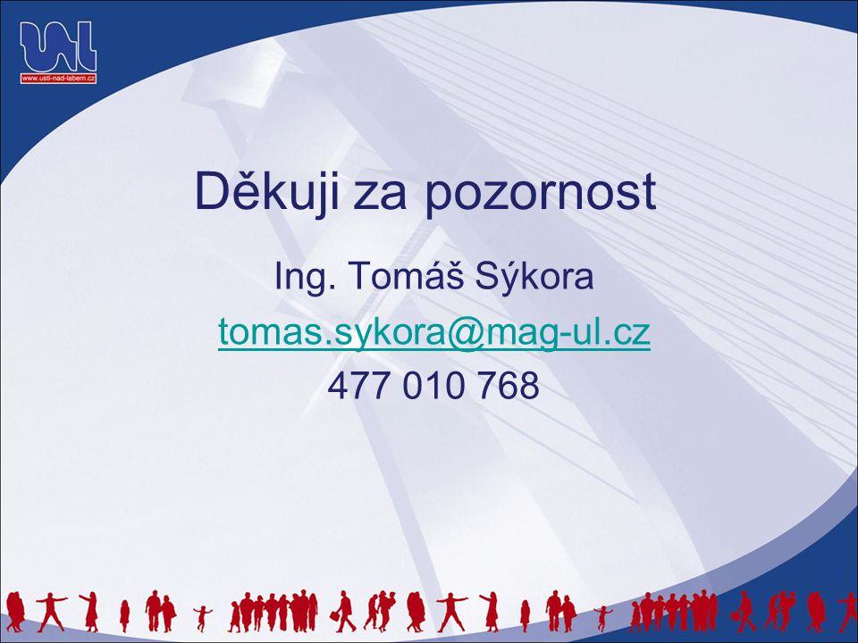 Děkuji za pozornost Ing. Tomáš Sýkora tomas.sykora@mag-ul.cz 477 010 768