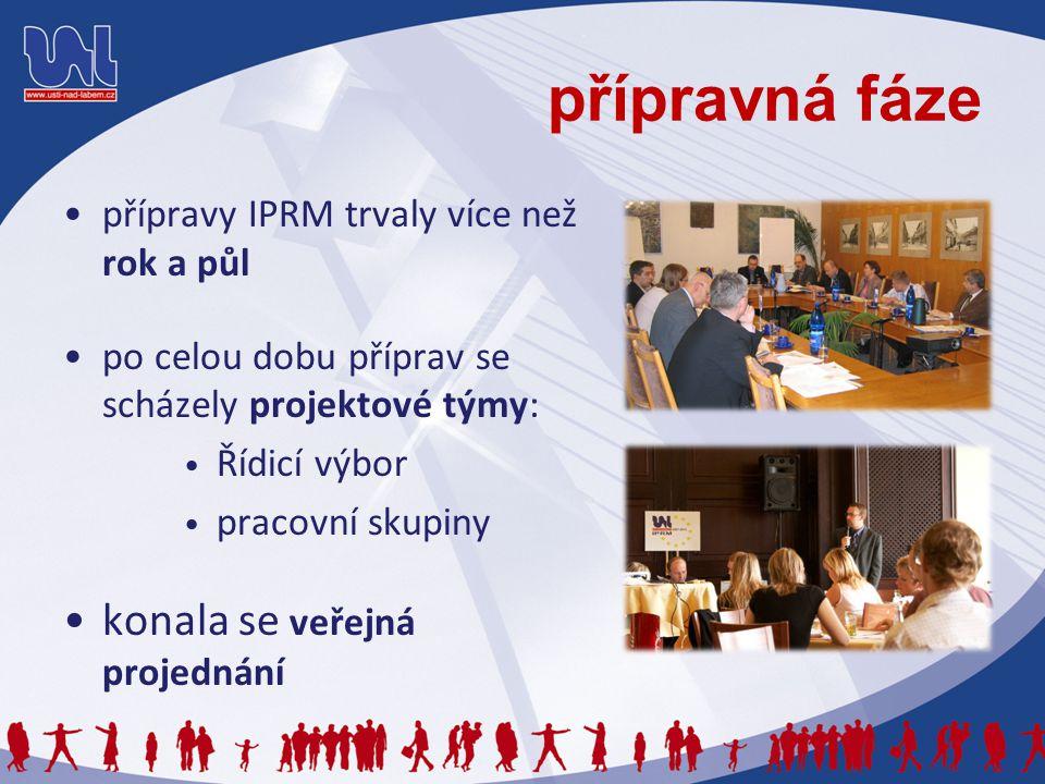 přípravná fáze přípravy IPRM trvaly více než rok a půl po celou dobu příprav se scházely projektové týmy: Řídicí výbor pracovní skupiny konala se veře