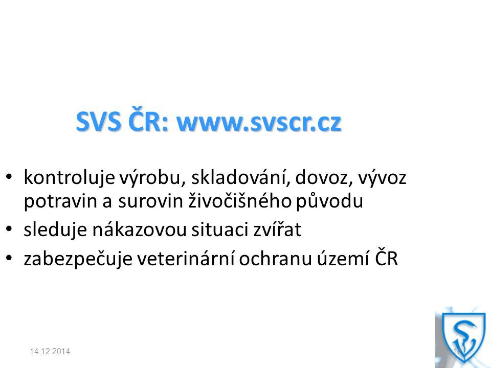SVS ČR: www.svscr.cz kontroluje výrobu, skladování, dovoz, vývoz potravin a surovin živočišného původu sleduje nákazovou situaci zvířat zabezpečuje veterinární ochranu území ČR 14.12.201416