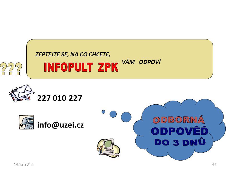 ZEPTEJTE SE, NA CO CHCETE, VÁM ODPOVÍ 227 010 227 info@uzei.cz 14.12.201441