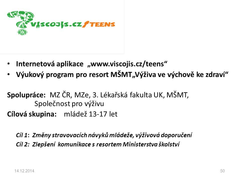 """Internetová aplikace """"www.viscojis.cz/teens Výukový program pro resort MŠMT""""Výživa ve výchově ke zdraví Spolupráce: MZ ČR, MZe, 3."""