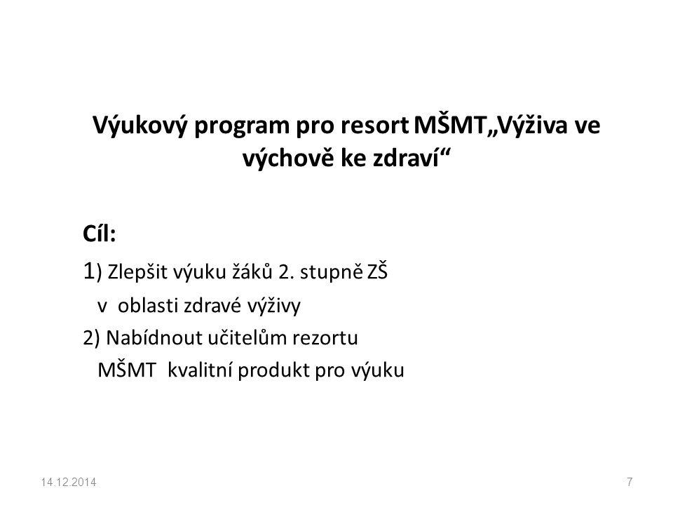 """Výukový program pro resort MŠMT""""Výživa ve výchově ke zdraví Cíl: 1 ) Zlepšit výuku žáků 2."""