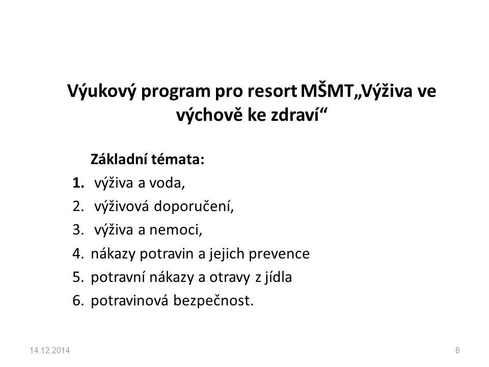 """Výukový program pro resort MŠMT""""Výživa ve výchově ke zdraví Základní témata: 1."""