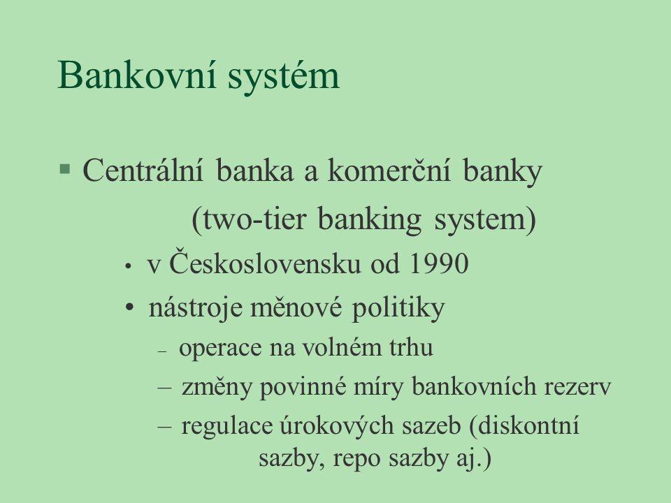Bankovní systém §Centrální banka a komerční banky (two-tier banking system) v Československu od 1990 nástroje měnové politiky – operace na volném trhu