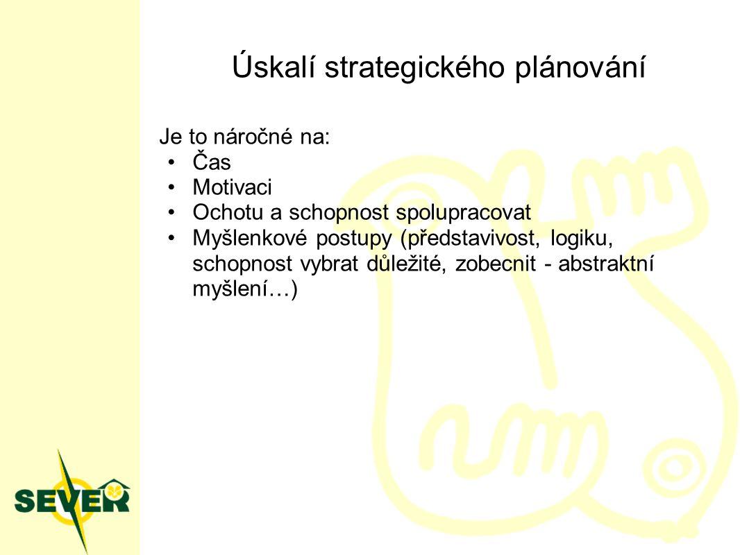 Úskalí strategického plánování Je to náročné na: Čas Motivaci Ochotu a schopnost spolupracovat Myšlenkové postupy (představivost, logiku, schopnost vybrat důležité, zobecnit - abstraktní myšlení…)
