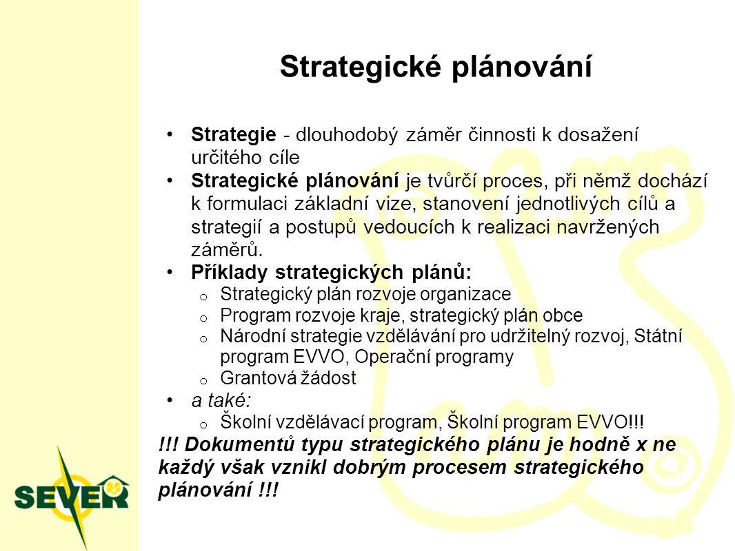 Strategické plánování Strategie - dlouhodobý záměr činnosti k dosažení určitého cíle Strategické plánování je tvůrčí proces, při němž dochází k formulaci základní vize, stanovení jednotlivých cílů a strategií a postupů vedoucích k realizaci navržených záměrů.