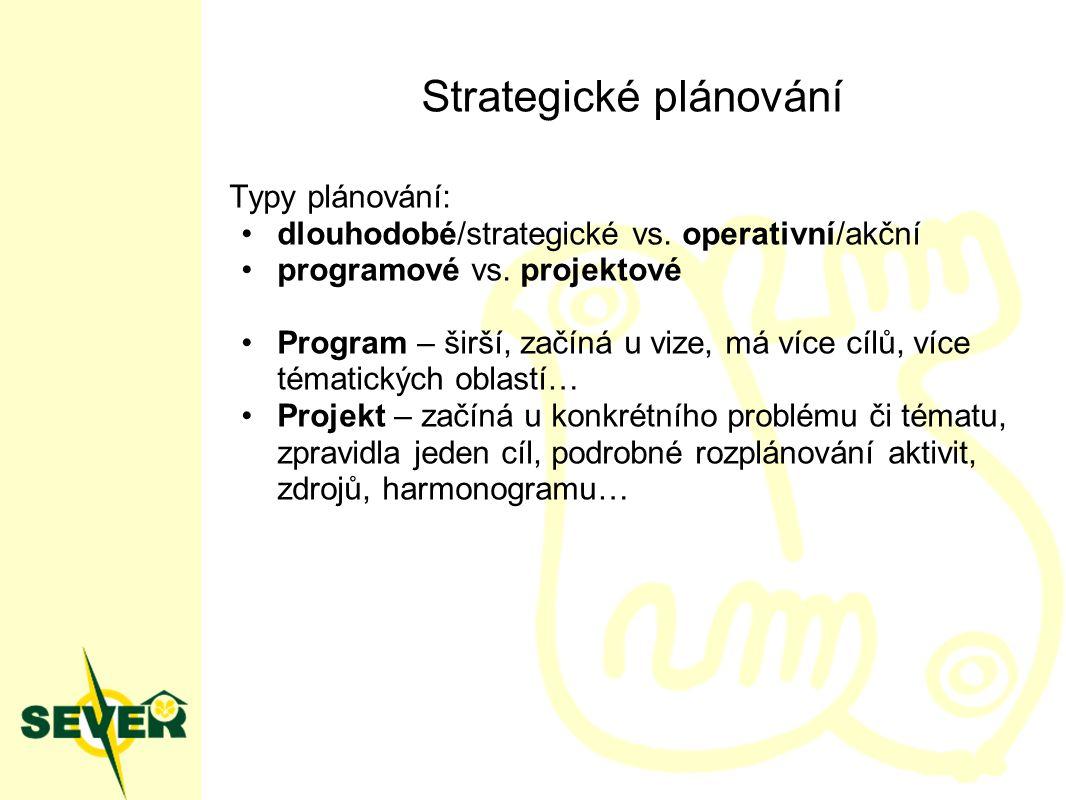 Strategické plánování Typy plánování: dlouhodobé/strategické vs. operativní/akční programové vs. projektové Program – širší, začíná u vize, má více cí