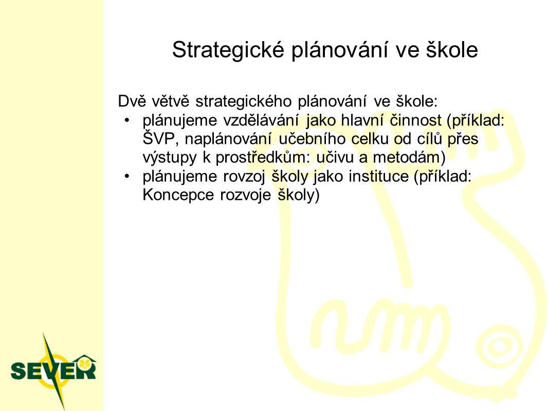 Strategické plánování ve škole Dvě větvě strategického plánování ve škole: plánujeme vzdělávání jako hlavní činnost (příklad: ŠVP, naplánování učebního celku od cílů přes výstupy k prostředkům: učivu a metodám) plánujeme rovzoj školy jako instituce (příklad: Koncepce rozvoje školy)