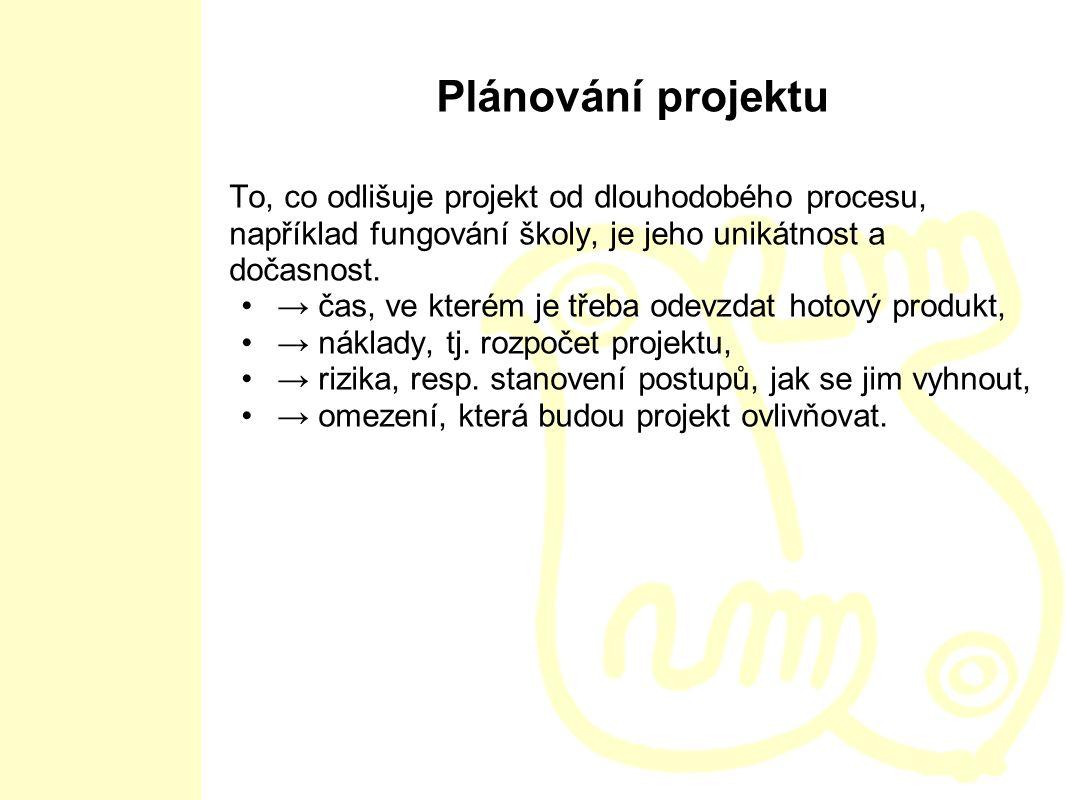 Plánování projektu To, co odlišuje projekt od dlouhodobého procesu, například fungování školy, je jeho unikátnost a dočasnost. → čas, ve kterém je tře