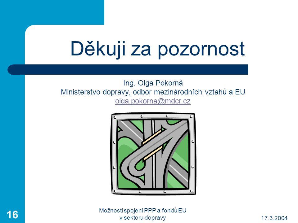 17.3.2004 Možnosti spojení PPP a fondů EU v sektoru dopravy 16 Děkuji za pozornost Ing.