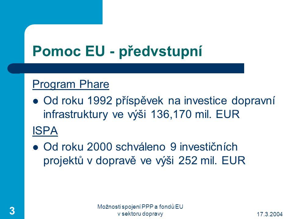 17.3.2004 Možnosti spojení PPP a fondů EU v sektoru dopravy 3 Pomoc EU - předvstupní Program Phare Od roku 1992 příspěvek na investice dopravní infrastruktury ve výši 136,170 mil.