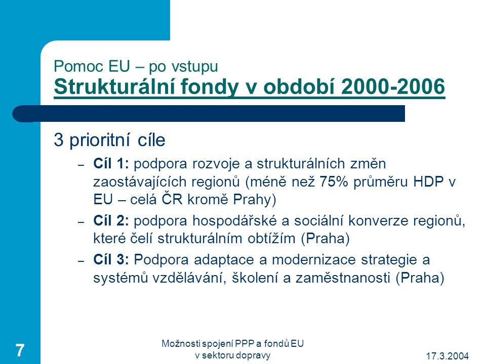 17.3.2004 Možnosti spojení PPP a fondů EU v sektoru dopravy 7 Pomoc EU – po vstupu Strukturální fondy v období 2000-2006 3 prioritní cíle – Cíl 1: podpora rozvoje a strukturálních změn zaostávajících regionů (méně než 75% průměru HDP v EU – celá ČR kromě Prahy) – Cíl 2: podpora hospodářské a sociální konverze regionů, které čelí strukturálním obtížím (Praha) – Cíl 3: Podpora adaptace a modernizace strategie a systémů vzdělávání, školení a zaměstnanosti (Praha)
