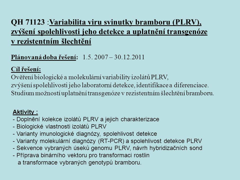 QH 71123 :Variabilita viru svinutky bramboru (PLRV), zvýšení spolehlivosti jeho detekce a uplatnění transgenóze v rezistentním šlechtění Plánovaná doba řešení: 1.5.