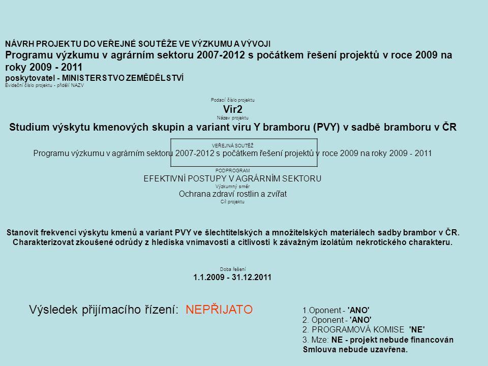 NÁVRH PROJEKTU DO VEŘEJNÉ SOUTĚŽE VE VÝZKUMU A VÝVOJI Programu výzkumu v agrárním sektoru 2007-2012 s počátkem řešení projektů v roce 2009 na roky 2009 - 2011 poskytovatel - MINISTERSTVO ZEMĚDĚLSTVÍ Evideční číslo projektu - přidělí NAZV Podací číslo projektu Vir2 Název projektu Studium výskytu kmenových skupin a variant viru Y bramboru (PVY) v sadbě bramboru v ČR VEŘEJNÁ SOUTĚŽ Programu výzkumu v agrárním sektoru 2007-2012 s počátkem řešení projektů v roce 2009 na roky 2009 - 2011 PODPROGRAM EFEKTIVNÍ POSTUPY V AGRÁRNÍM SEKTORU Výzkumný směr Ochrana zdraví rostlin a zvířat Cíl projektu Stanovit frekvenci výskytu kmenů a variant PVY ve šlechtitelských a množitelských materiálech sadby brambor v ČR.