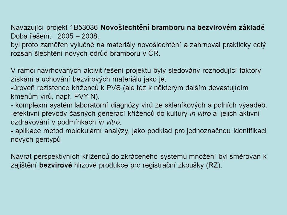 Navazující projekt 1B53036 Novošlechtění bramboru na bezvirovém základě Doba řešení: 2005 – 2008, byl proto zaměřen výlučně na materiály novošlechtění a zahrnoval prakticky celý rozsah šlechtění nových odrůd bramboru v ČR.