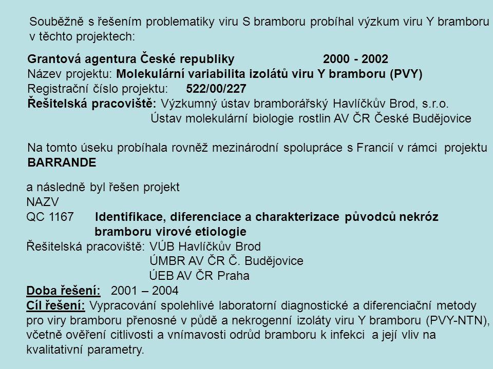 Souběžně s řešením problematiky viru S bramboru probíhal výzkum viru Y bramboru v těchto projektech: Grantová agentura České republiky2000 - 2002 Náze