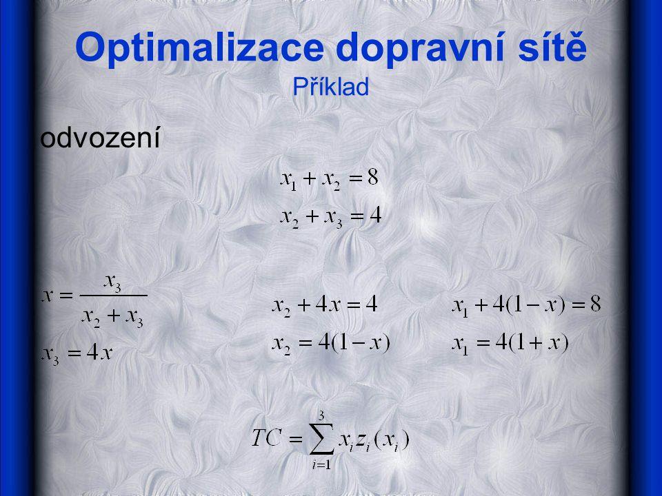 Optimalizace dopravní sítě Příklad odvození